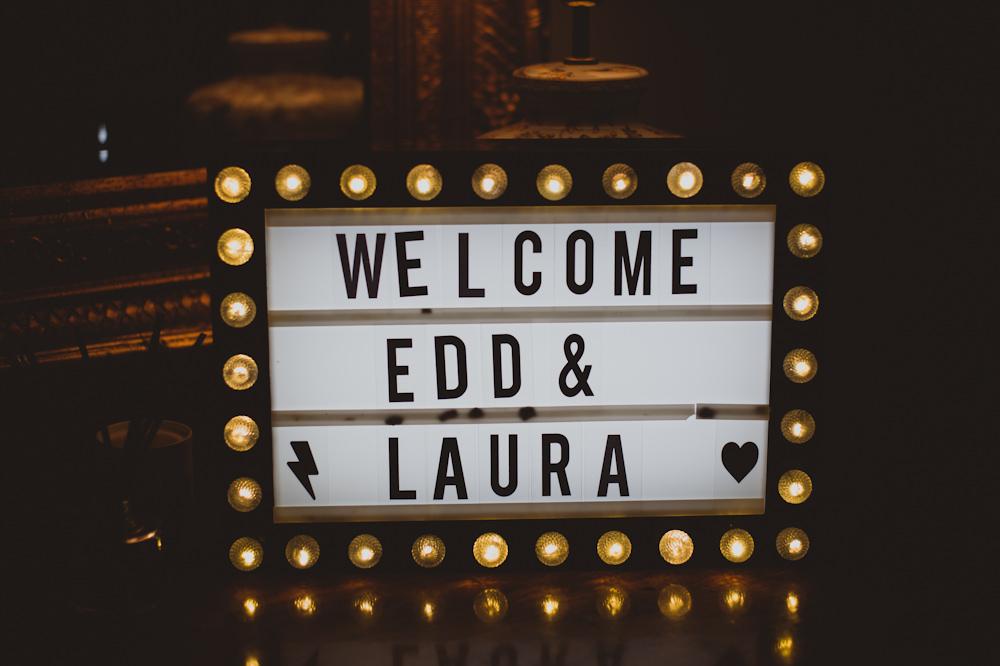 Welcome Sign Signs Signage Cinema Light Garthmyl Hall Wedding Sasha Weddings