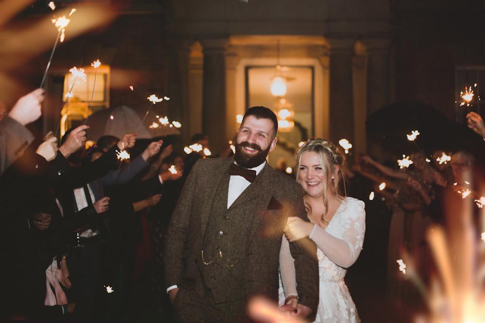 Sparklers Sparkler Send Off Exit Garthmyl Hall Wedding Sasha Weddings