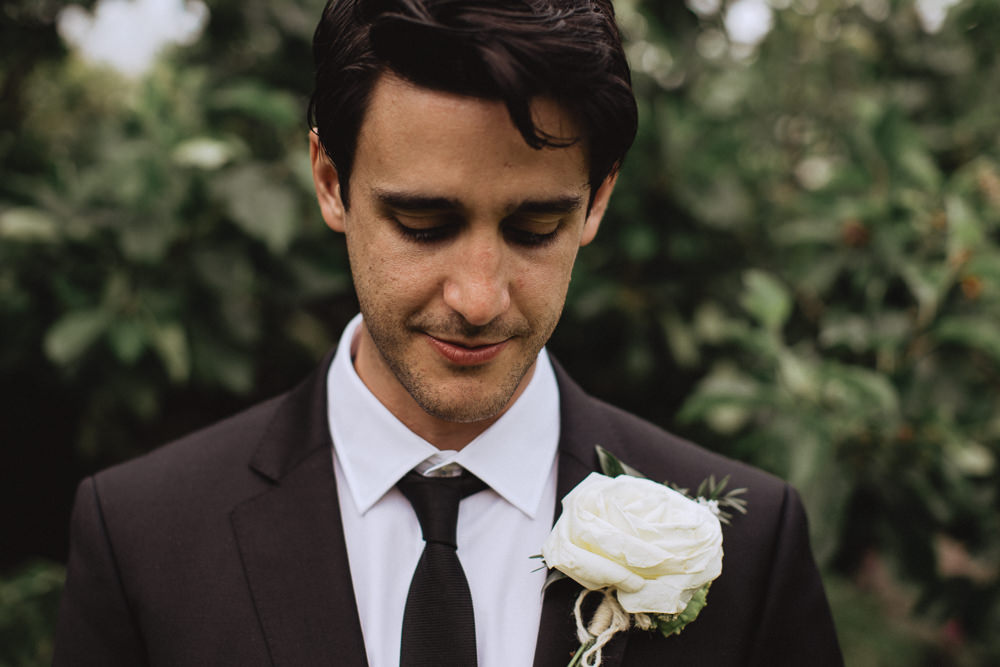 Groom Buttonhole Rose Natural Marquee Wedding Fox & Bear Photography