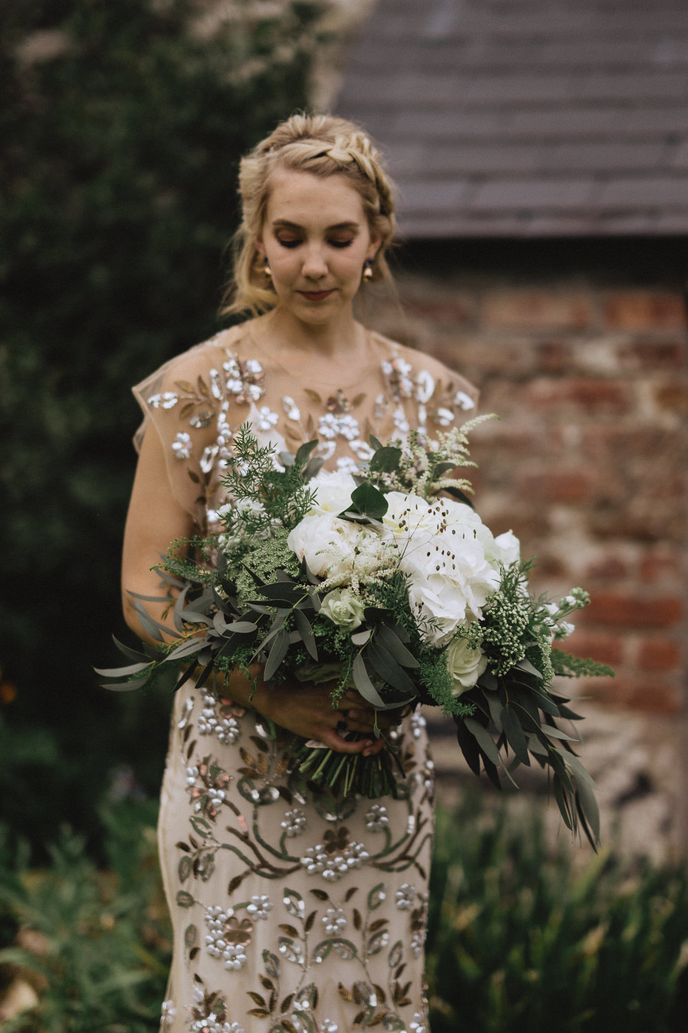 Bouquet Flowers Bride Bridal White Rose Hydrangea Peony Greenery Foliage Natural Marquee Wedding Fox & Bear Photography