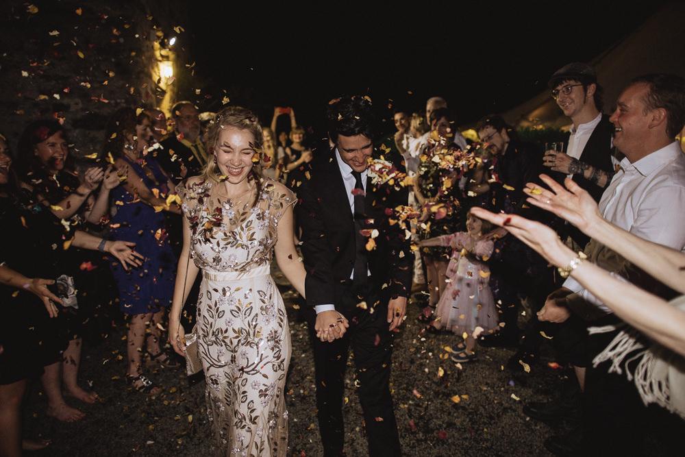 Confetti Throw Natural Marquee Wedding Fox & Bear Photography