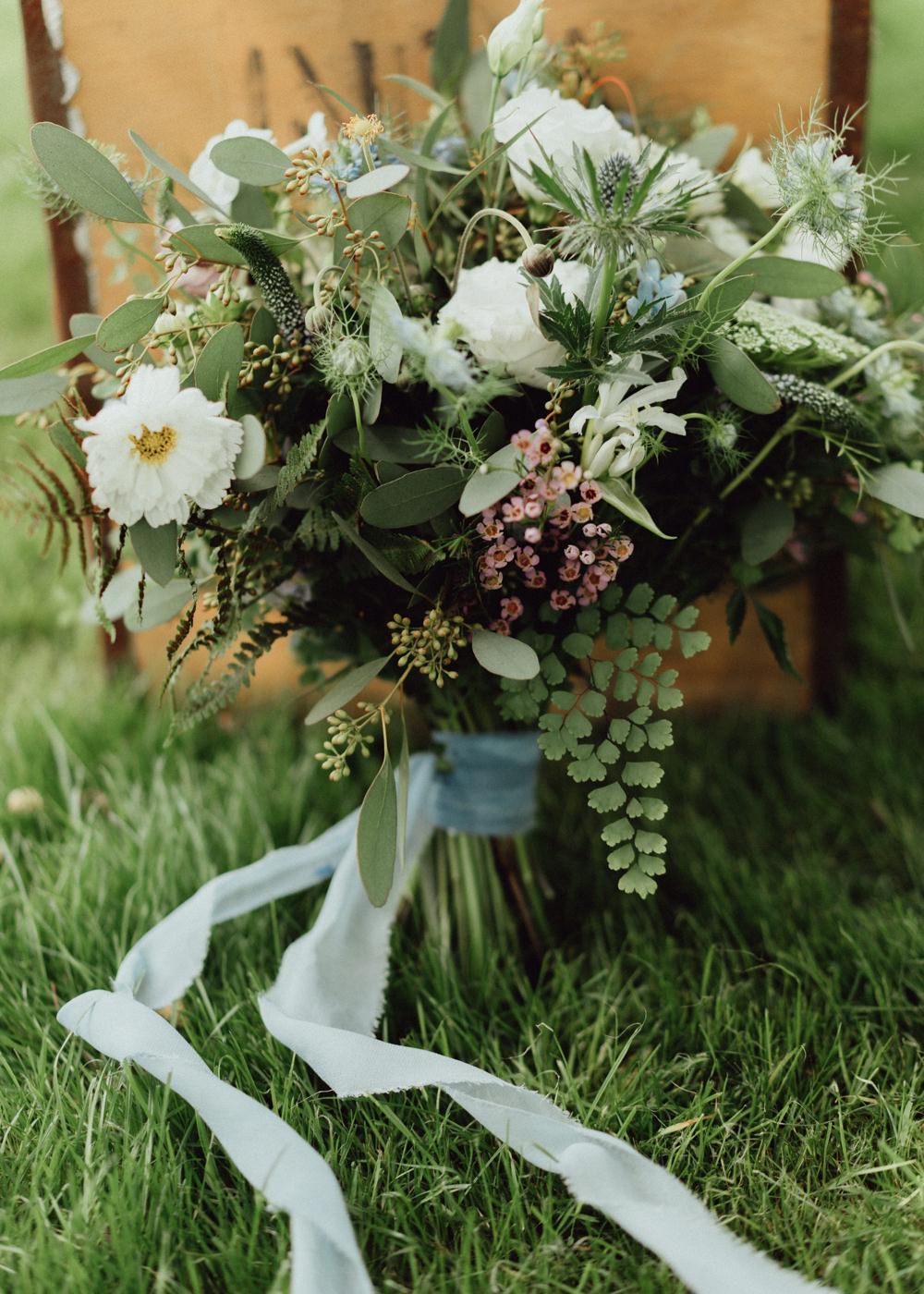 Bouquet Flowers Bride Bridal Thistle Greenery Ribbon Pitt Hall Barn Wedding Emily & Steve Photography