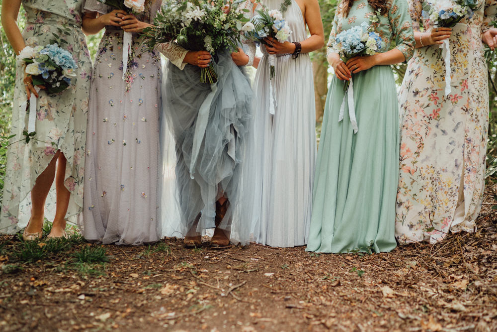 Flower Crown Bridesmaids Bridesmaid Dresses Mismatched Pastel Bouquets Pitt Hall Barn Wedding Emily & Steve Photography