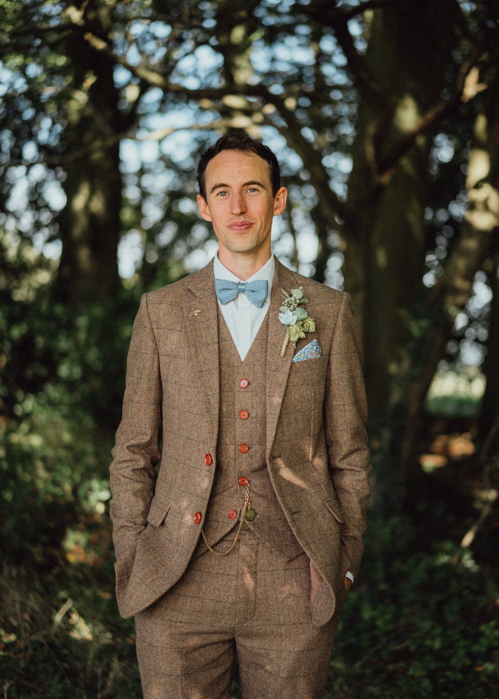 Groom Suit Brown Tweed Bow Tie Pitt Hall Barn Wedding Emily & Steve Photography