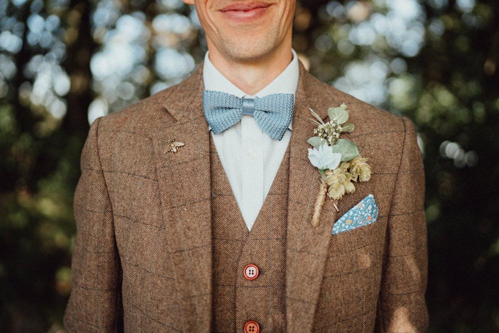 Groom Suit Brown Tweed Bow Tie Buttonhole Flowers Pitt Hall Barn Wedding Emily & Steve Photography