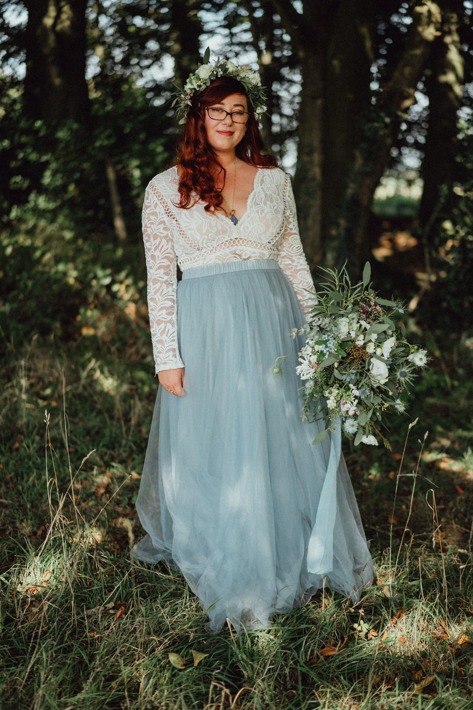Bride Bridal Dress Gown Blue Skirt Pitt Hall Barn Wedding Emily & Steve Photography