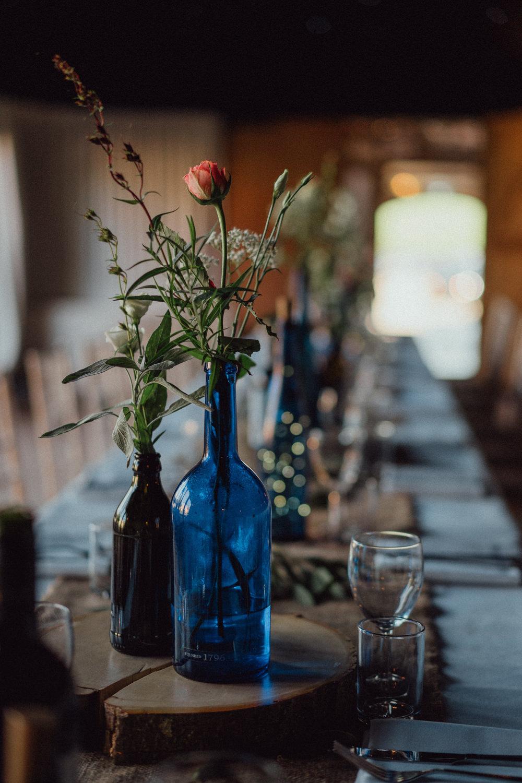 Long Tables Decor Bottle Flowers Hessian Log Slice Pitt Hall Barn Wedding Emily & Steve Photography