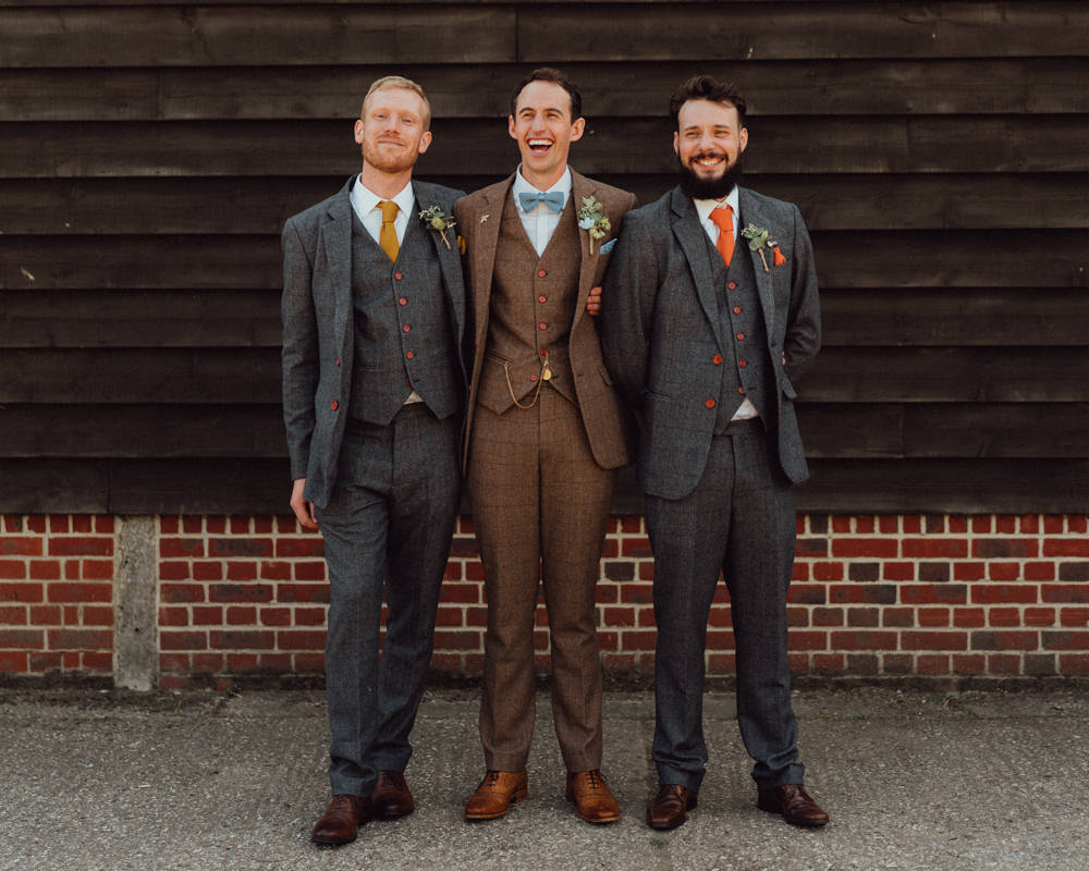 Groom Suit Brown Tweed Bow Tie Groomsmen Pitt Hall Barn Wedding Emily & Steve Photography