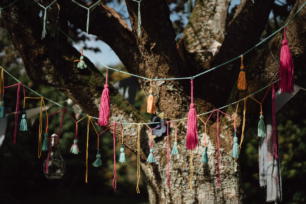 Tassel Garland Trees Pitt Hall Barn Wedding Emily & Steve Photography