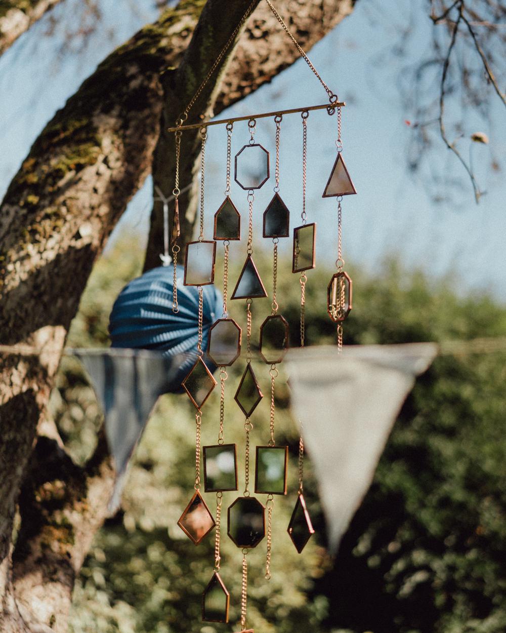 Hanging Decor Trees Mirrors Pitt Hall Barn Wedding Emily & Steve Photography