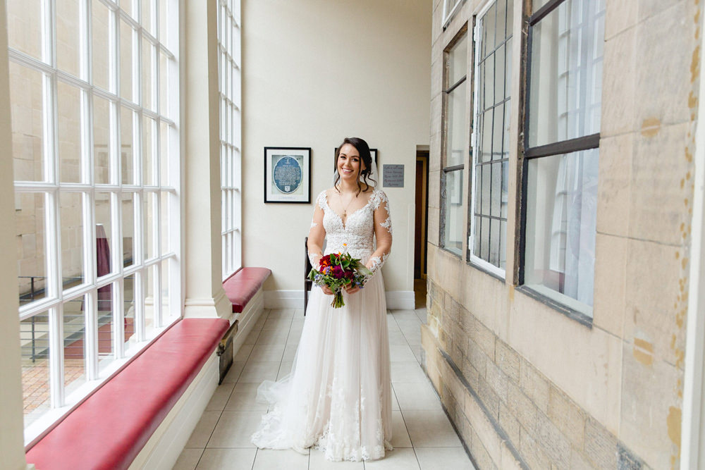 Dress Gown Bride Bridal Illustion Lace Back Buttons Long Sleeves Sheffield Town Hall Wedding Mark Newton Wedding Photography