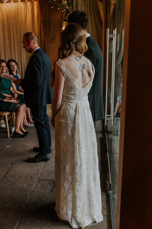Bride Bridal Dress Gown Vintage Lace Simple Autumn Wedding Maddie Farris Photography