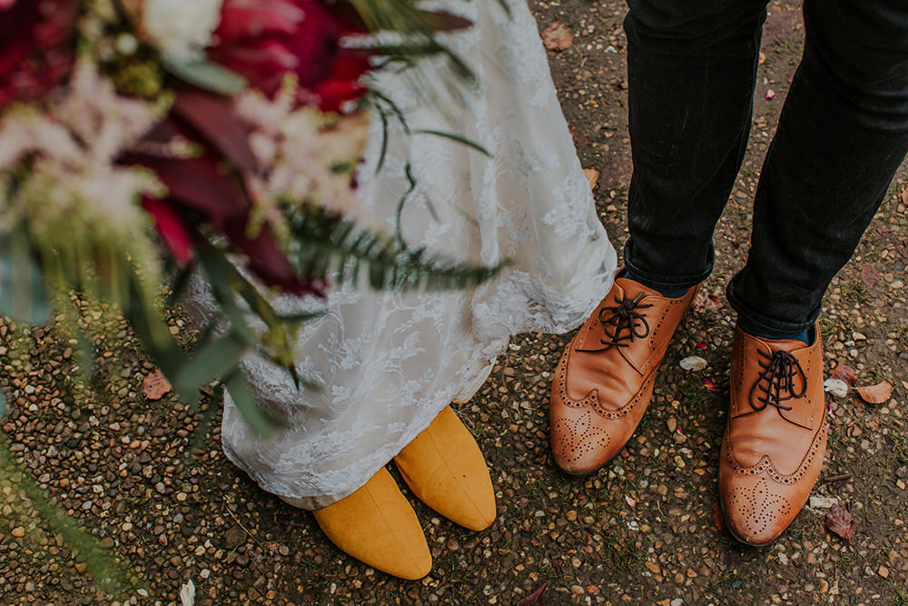 Mustard Boots Bride Bridal Tan Groom Simple Autumn Wedding Maddie Farris Photography