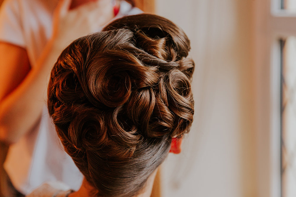 Hair Bride Bridal Bridesmaid Vintage Style Up Do Simple Autumn Wedding Maddie Farris Photography