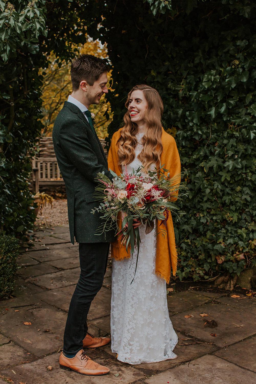 Bride Bridal Dress Gown Vintage Lace Mustard Shawl Simple Autumn Wedding Maddie Farris Photography