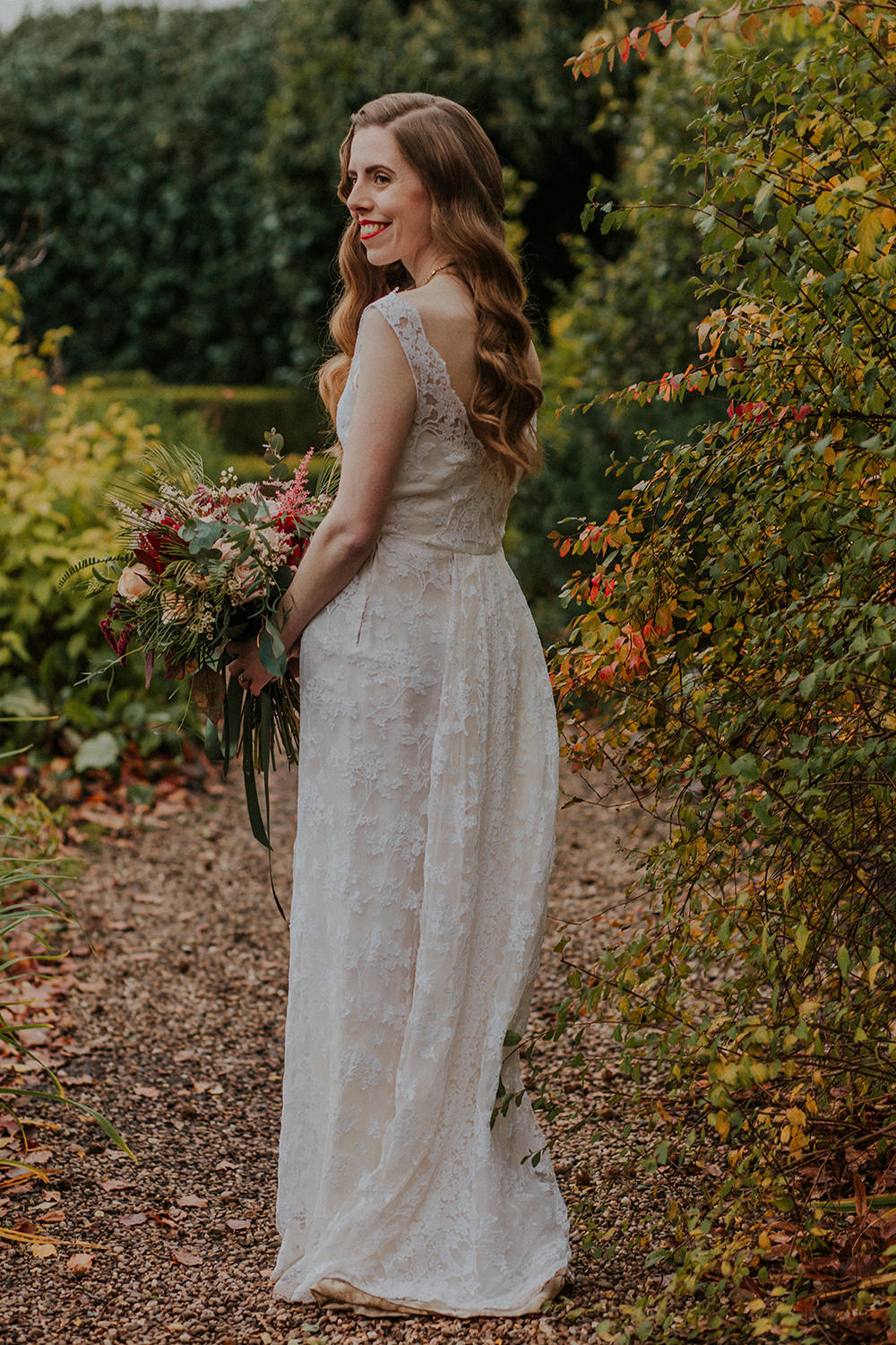 Bride Bridal Dress Gown Vintage Lace Simple Autumn Wedding Maddie Farris Photography