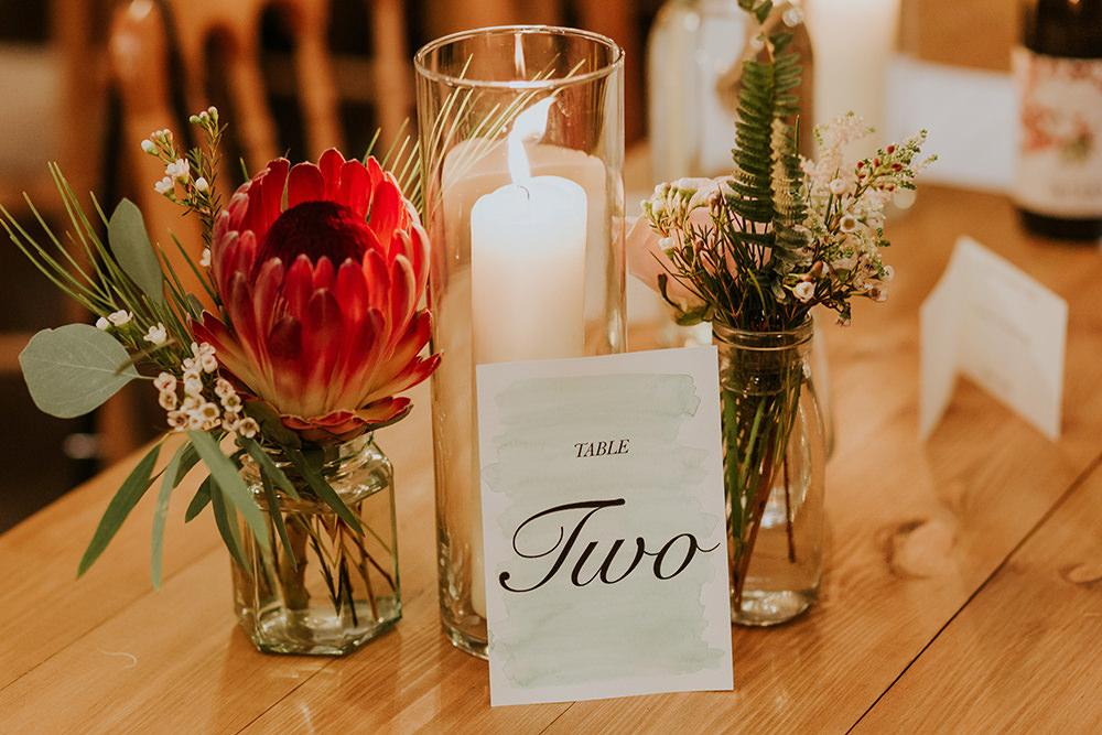 Protea Flowers Jars Simple Autumn Wedding Maddie Farris Photography