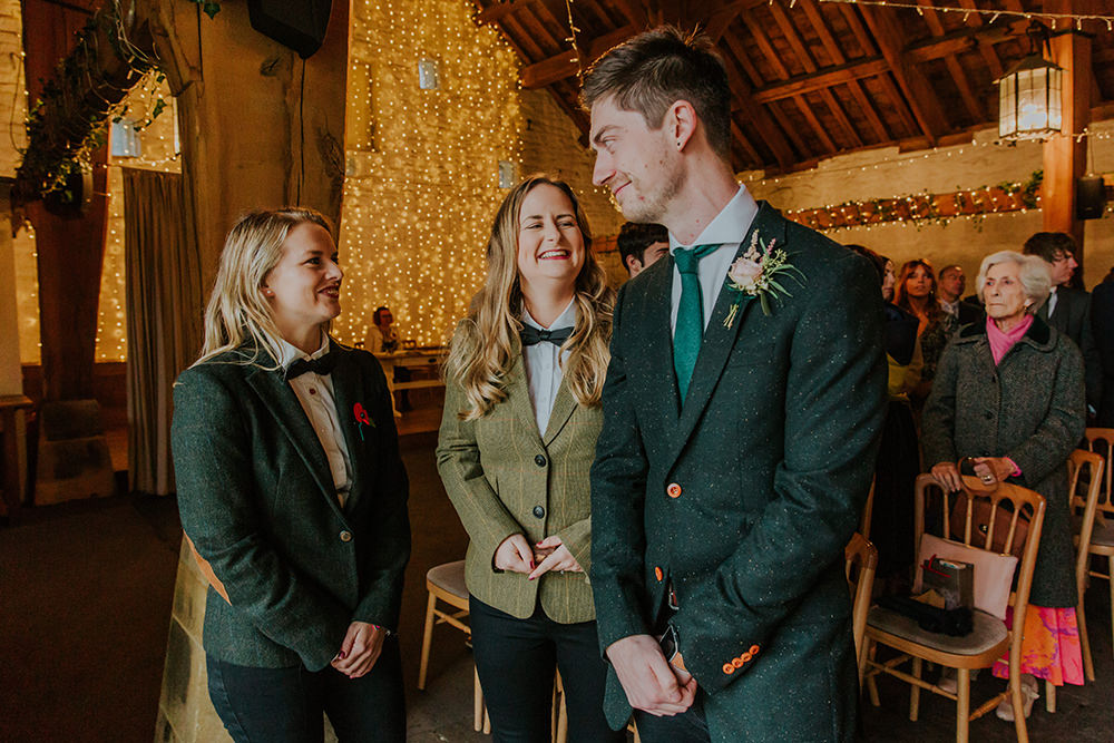 Groom Suit Green Tweed Jacket Jeans Simple Autumn Wedding Maddie Farris Photography