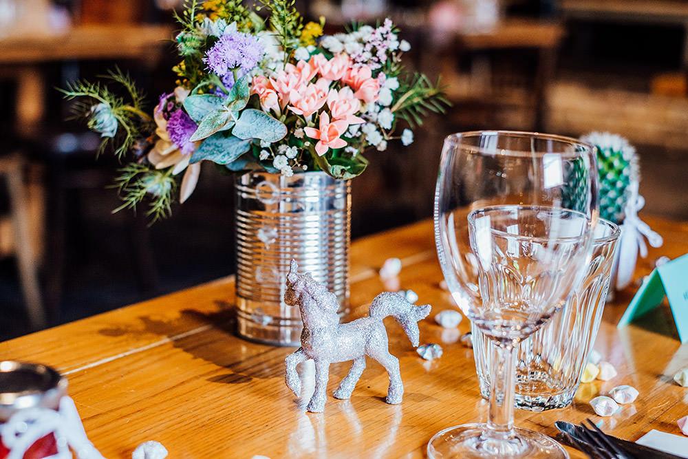 Unicorn Table Decor Sparkly Wedding Anna Pumer Photography