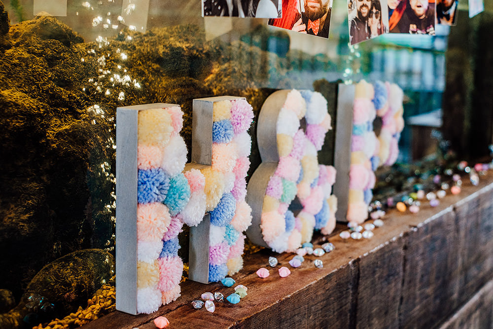 Pom Pom Letters Sign Sparkly Wedding Anna Pumer Photography
