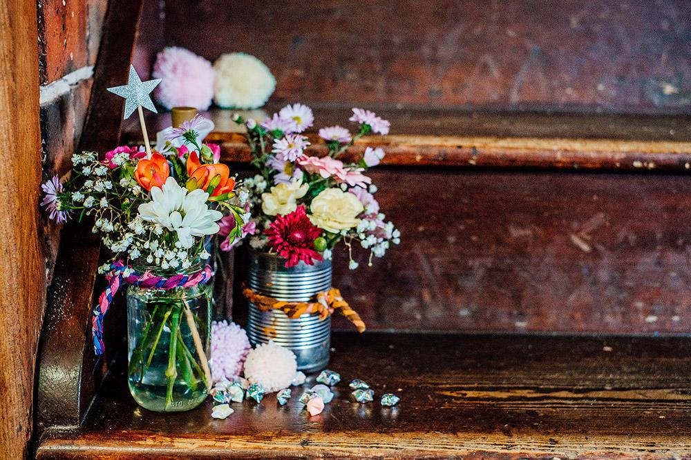 Tin Can Jar Flowers Pom Poms Sparkly Wedding Anna Pumer Photography