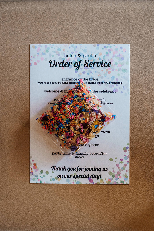 Order of Service Confetti Sparkly Wedding Anna Pumer Photography