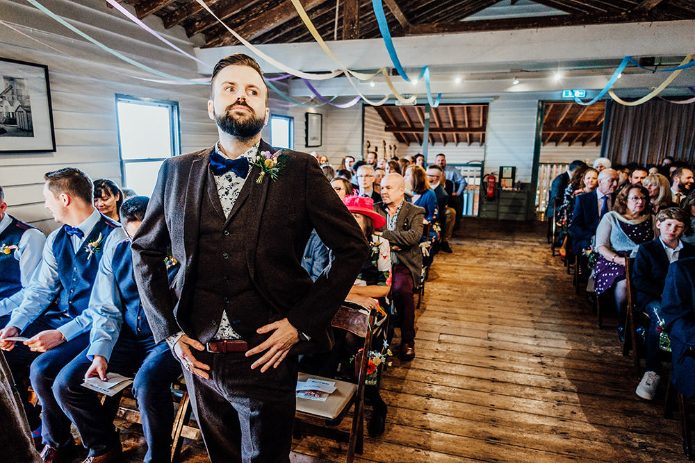 Groom Suit Waistcoat Bow Tie Sparkly Wedding Anna Pumer Photography