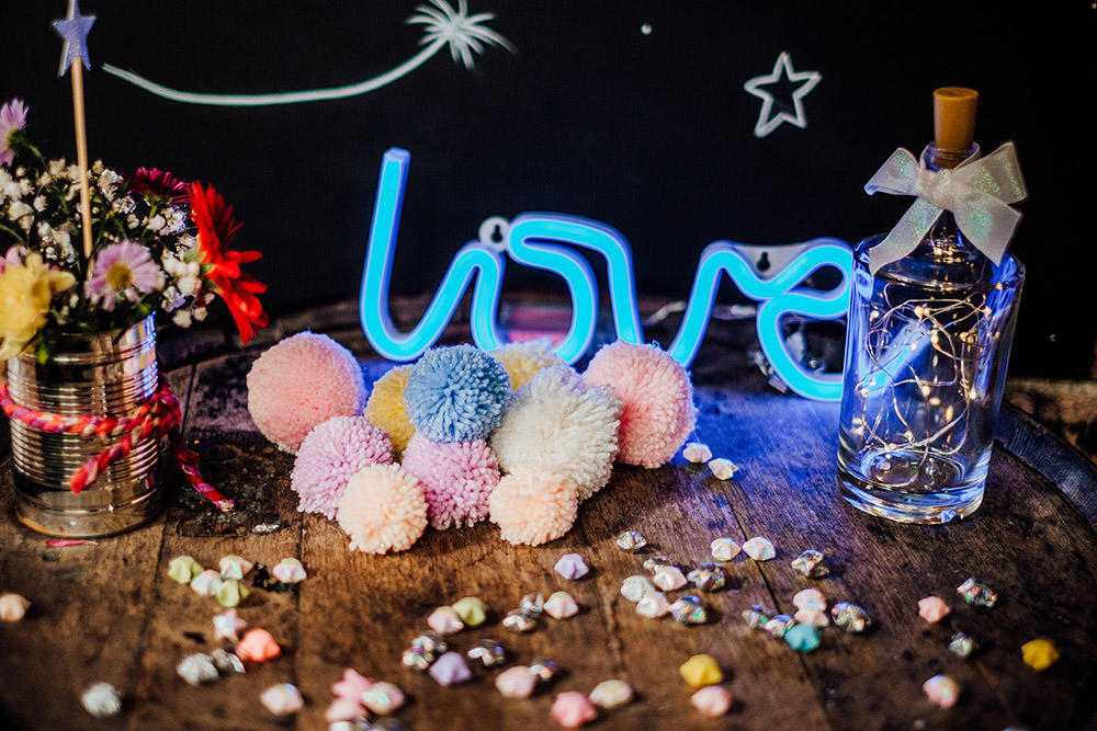Neon Light Sign Pom Poms Sparkly Wedding Anna Pumer Photography