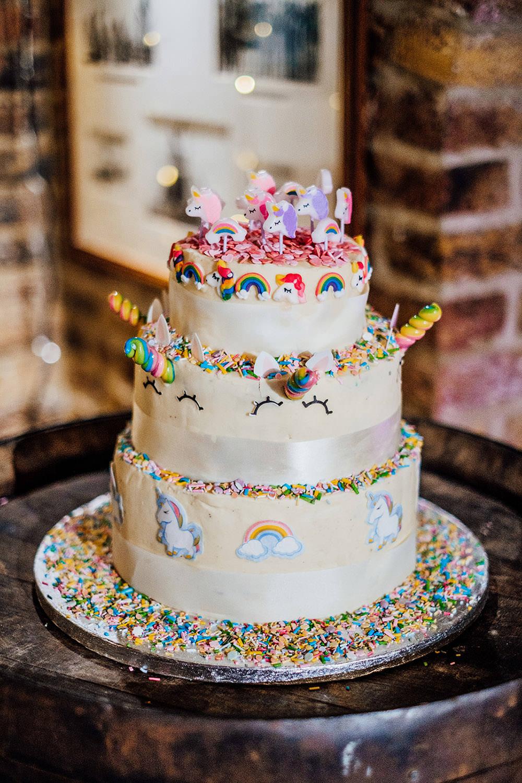 Rainbow Unicorn Sprinkes Cake Sparkly Wedding Anna Pumer Photography