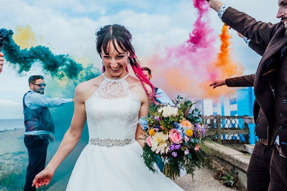 Dress Gown Bride Bridal House of Mooshki Short Tea Length Sparkly Wedding Anna Pumer Photography Smoke Bombs Portrait Photo Photograph