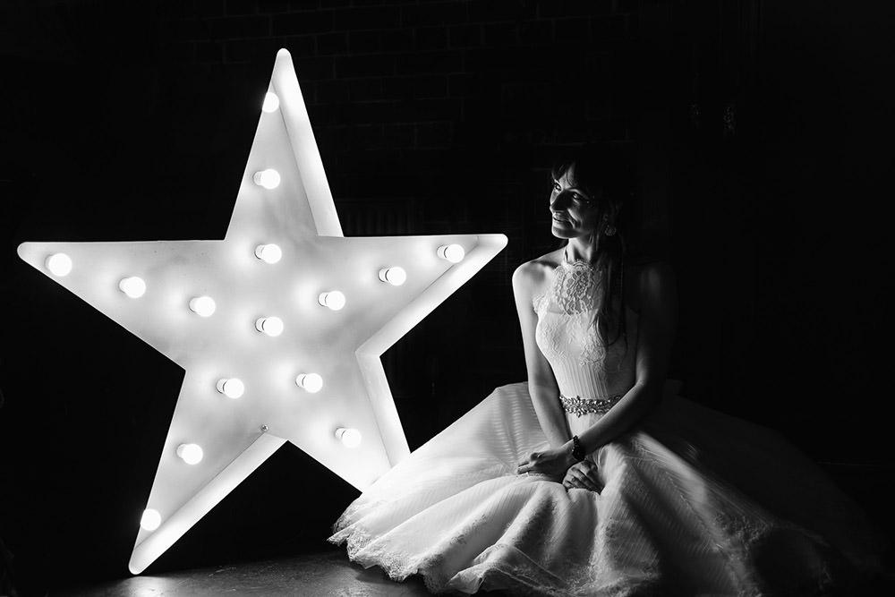 Dress Gown Bride Bridal House of Mooshki Short Tea Length Sparkly Wedding Anna Pumer Photography