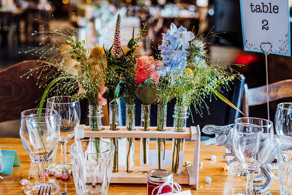 Test Tube Flowers Decor Centrepiece Sparkly Wedding Anna Pumer Photography