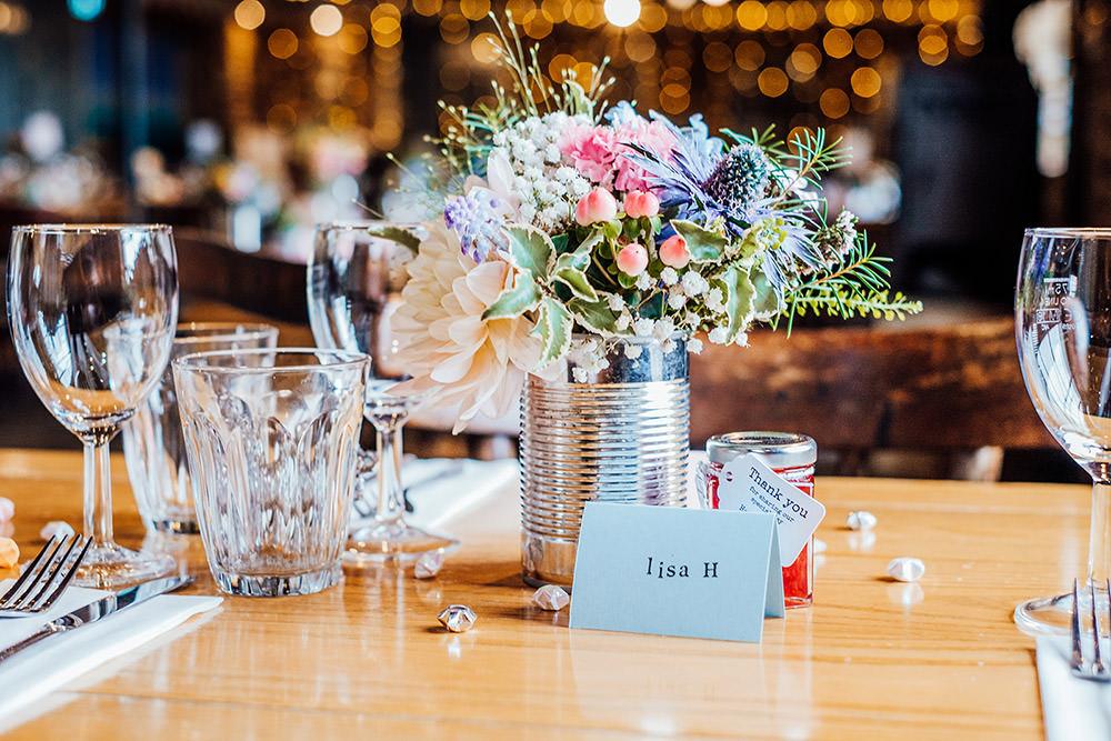 Tin Flowers Centrepiece Sparkly Wedding Anna Pumer Photography