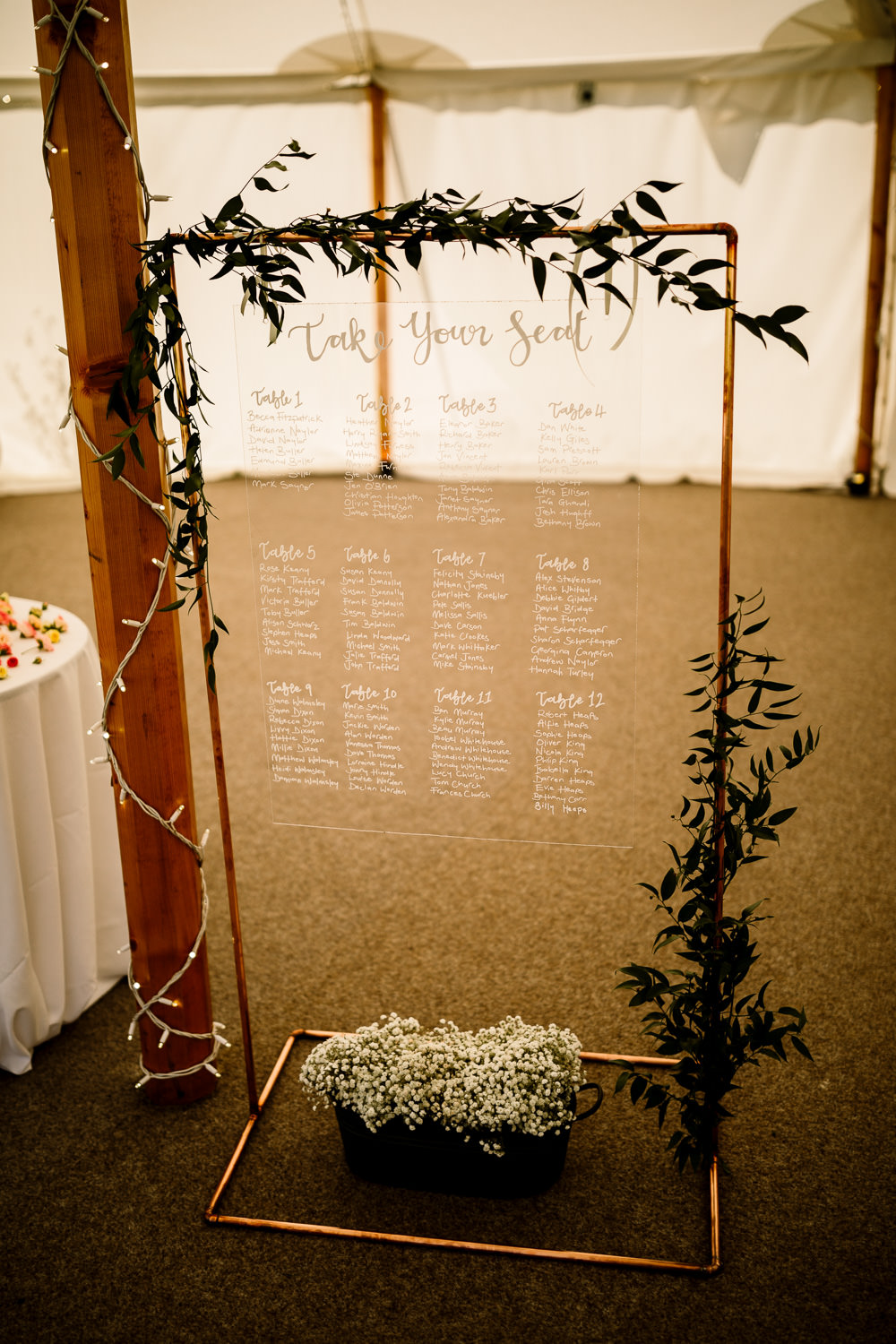 Perspex Acrylic Clear Table Plan Seating Chart Sperry Tent Wedding Hayley Baxter Photography