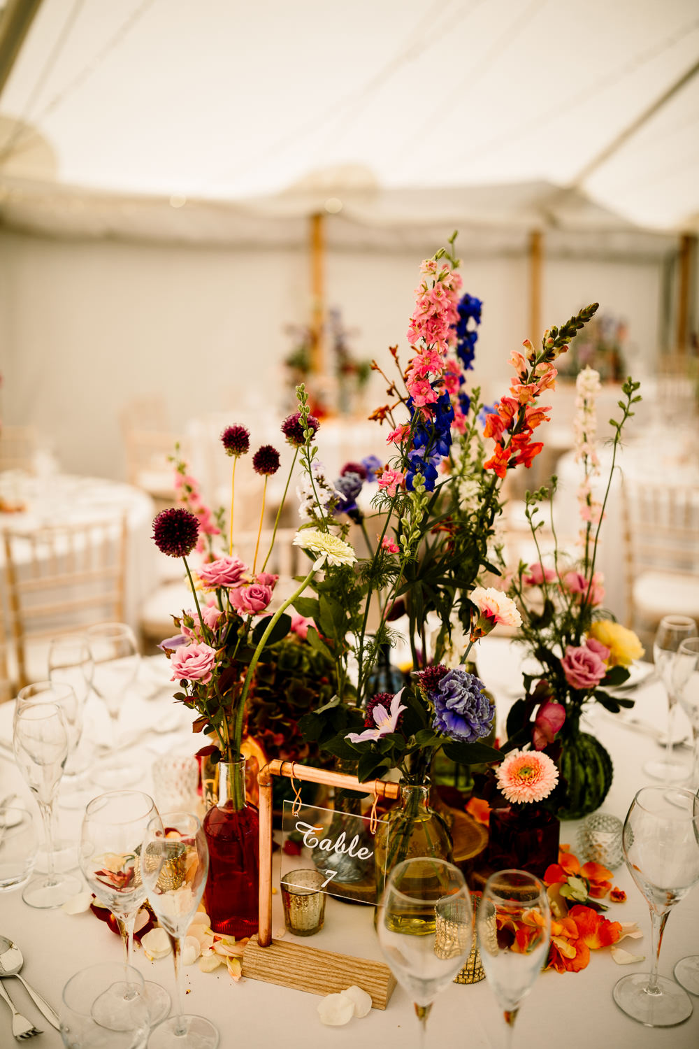 Centepiece Flowers Wild Flowers Decor Table Sperry Tent Wedding Hayley Baxter Photography