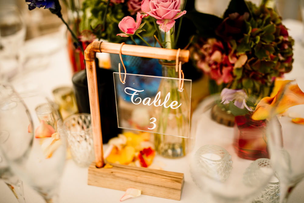 Copper Pip Table Number Perspex Clear Acrylic Sperry Tent Wedding Hayley Baxter Photography