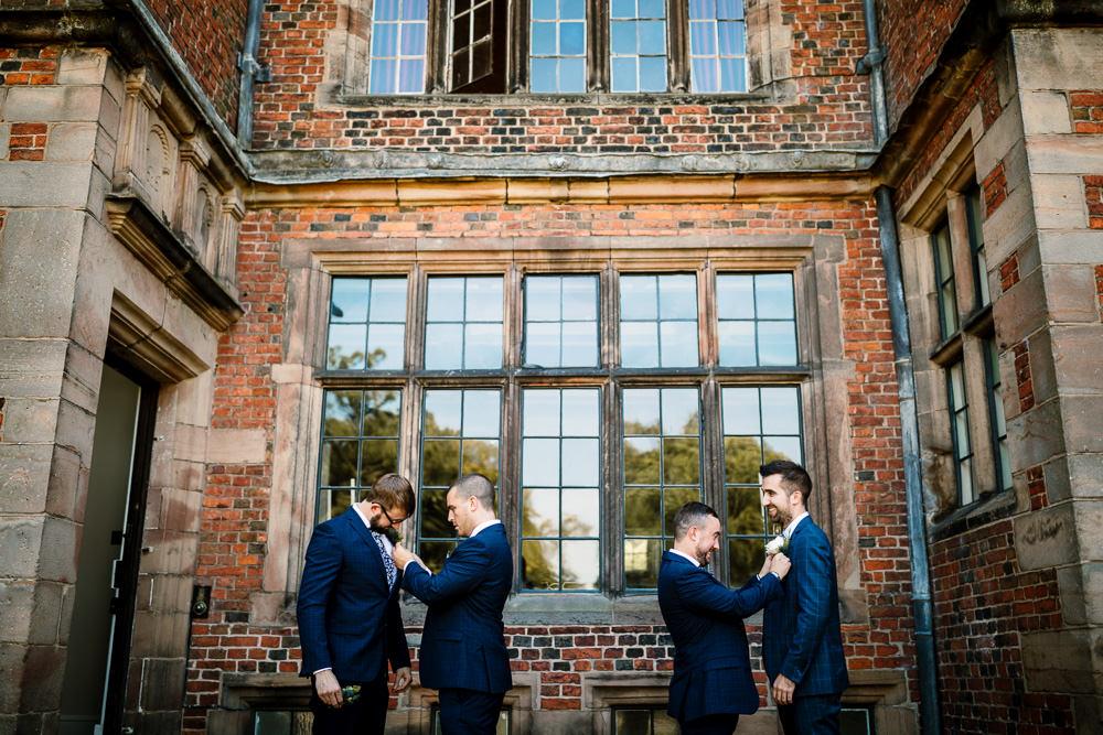 Groom Groomsmen Suits Navy Sperry Tent Wedding Hayley Baxter Photography
