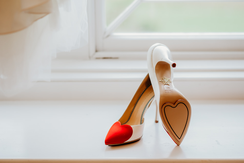 Bride Bridal Shoes Heart Charlotte Olympia St. Tewdrics House Wedding When Charlie Met Hannah