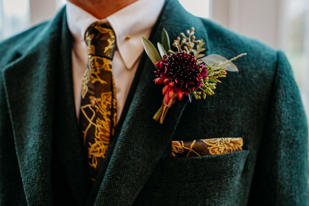 Buttonhole Flowers Pincushion Greenery St. Tewdrics House Wedding When Charlie Met Hannah