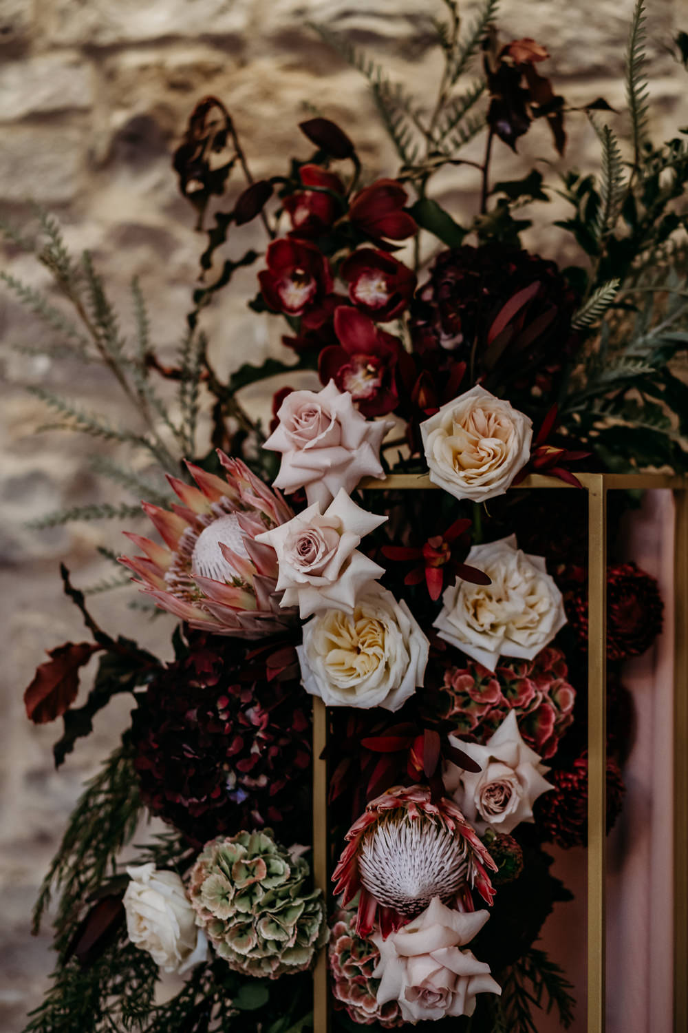 Flower Installation Backdrop Ceremony Aisle Protea Rose St. Tewdrics House Wedding When Charlie Met Hannah