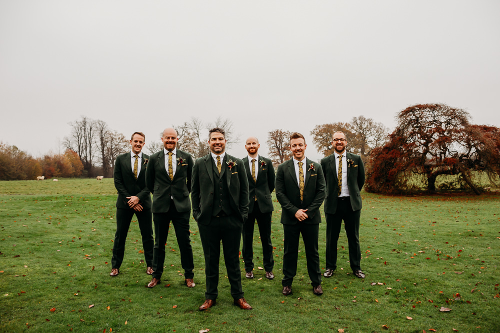 Groom Groomsmen Suits Green St. Tewdrics House Wedding When Charlie Met Hannah
