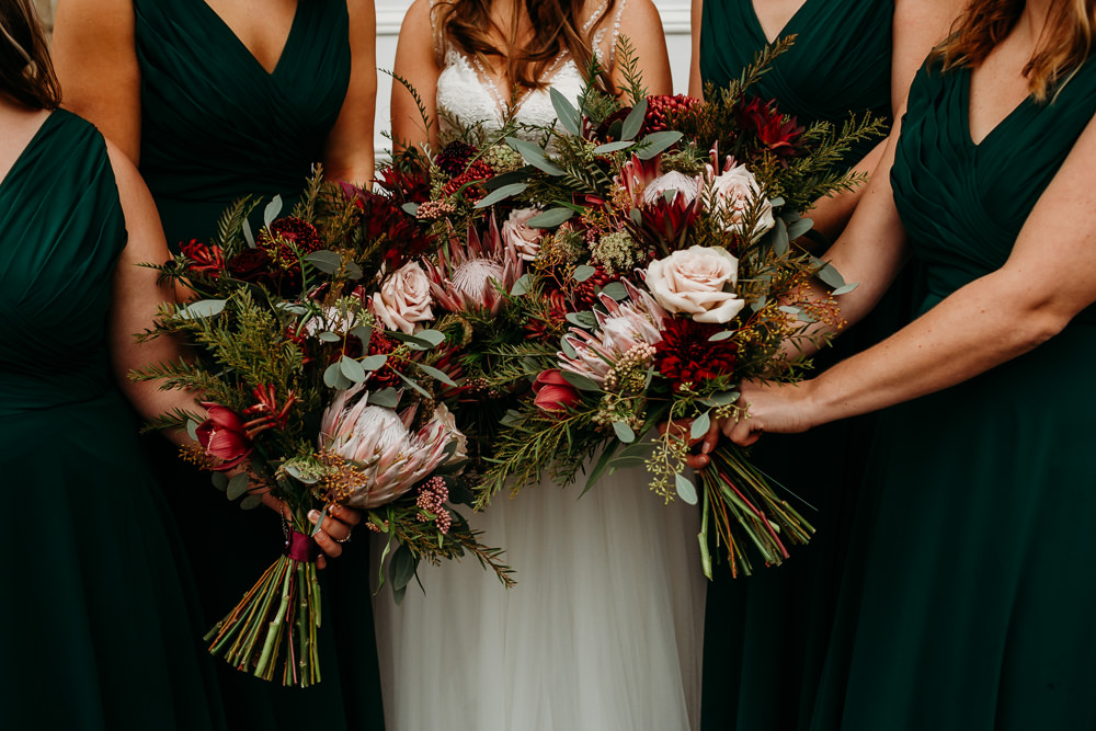 Bouquets Flowers Bride Bridal Bridesmaids Protea Rose Blush Burgundy St. Tewdrics House Wedding When Charlie Met Hannah
