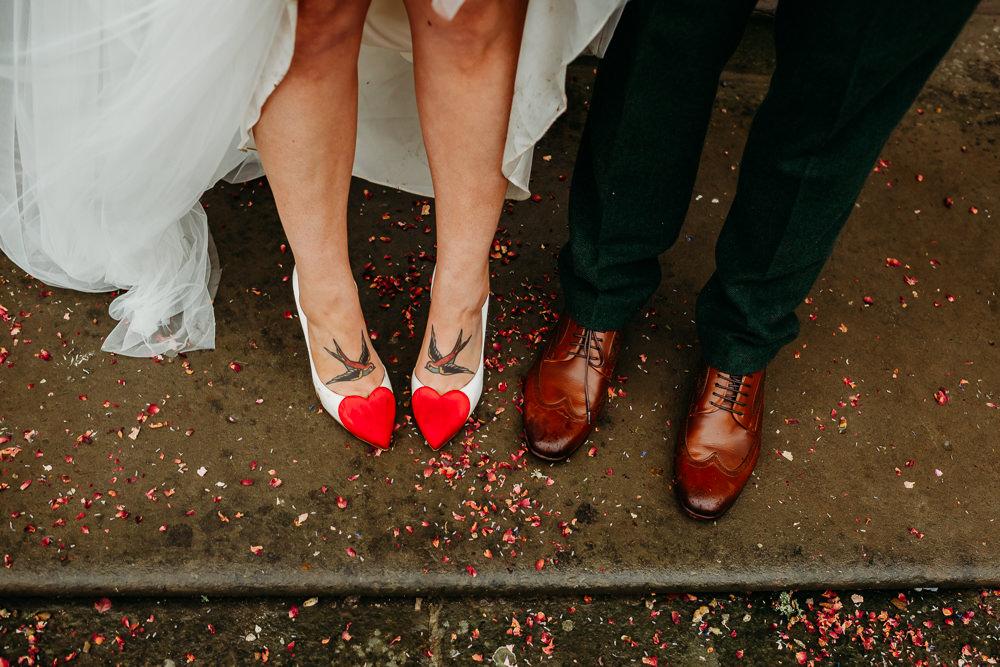Bride Bridal Shoes Heart Charlotte Olympia Groom St. Tewdrics House Wedding When Charlie Met Hannah
