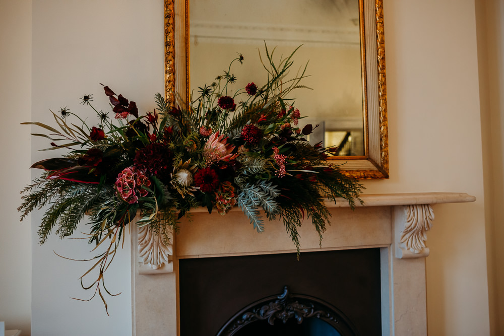 Fireplace Mantlepiece Flowers St. Tewdrics House Wedding When Charlie Met Hannah