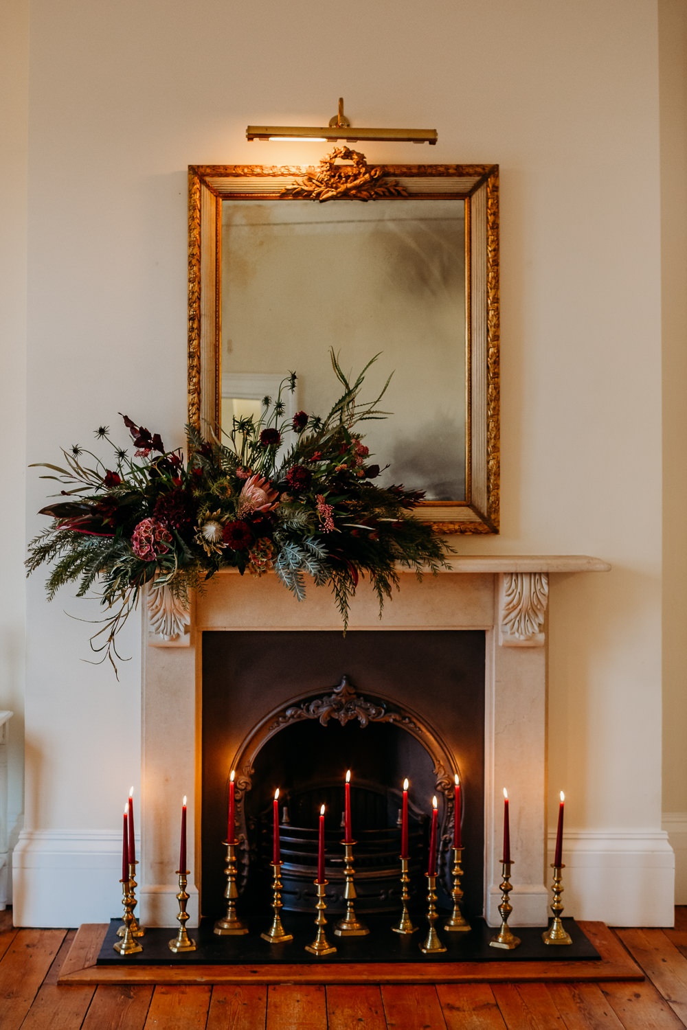 Fireplace Mantlepiece Flowers Candles St. Tewdrics House Wedding When Charlie Met Hannah