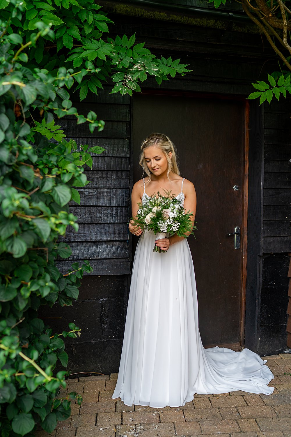 Dress Gown Bride Bridal Rebecca Ingram Flowing Straps Stylish Rustic Wedding Mia Photography