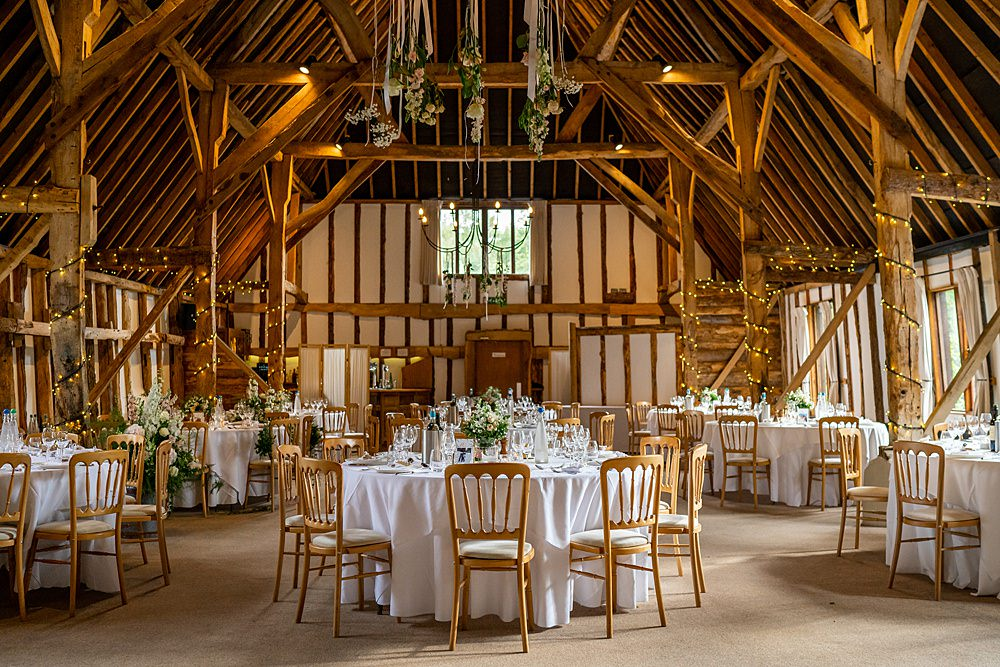 Clock Barn Hanging Flowers Round Tables Stylish Rustic Wedding Mia Photography