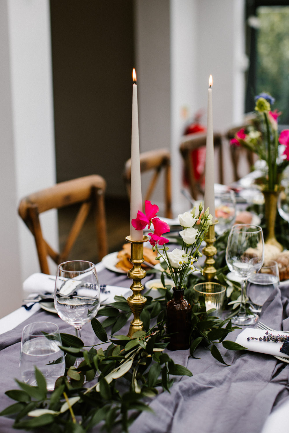 Long Table Decor Candles Flowers Titchwell Manor Wedding Honey and The Moon Photography