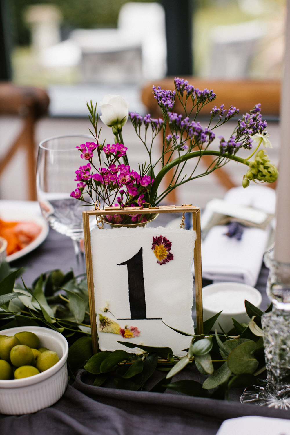 Table Number Frame Pressed Flowers Titchwell Manor Wedding Honey and The Moon Photography