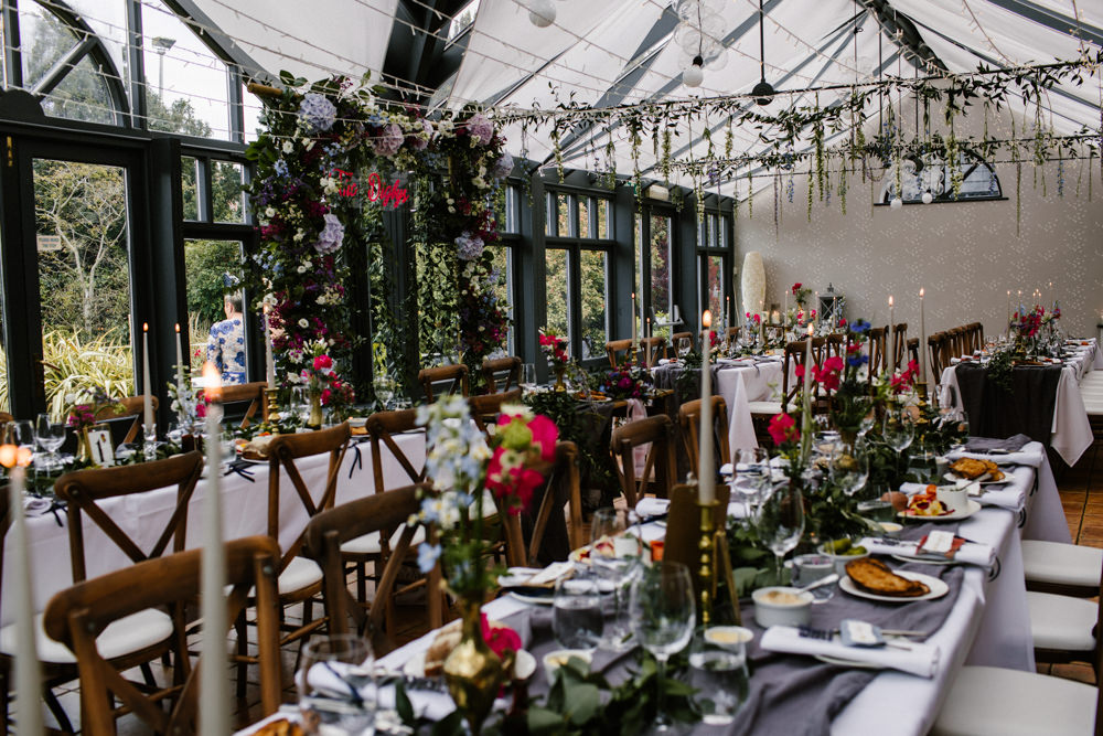 Hanging Flowers Suspended Florals Decor Conservatory Titchwell Manor Wedding Honey and The Moon Photography